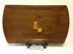 RARE American Walnut Wood Serving Tray With Golf Bag Inlay Marquentry 20.5
