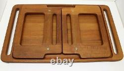 RARE DANSK IHQ TEAK wood serving TRAY Quistgaard lap desk Danish MCM collapsible