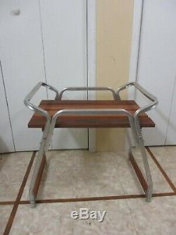 RARE Mid Century Aluminum Red Wood Slat Outdoor Patio Butler Serving Table Tray