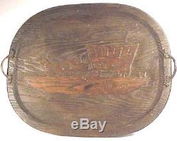 RARE carved wood serving tray Conestoga Wagon COWBOY antique BAR / TAVERN