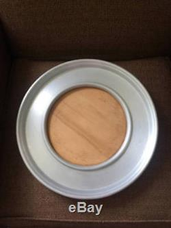 RUSSEL WRIGHT SPUN ALUMINUM possibly teak Wood Serving Tray with Dome Domed Lid