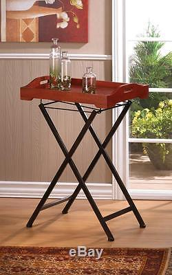 RUSTIC SPIRIT TRAY TABLE Accent Plus Wood Home Decorative Serving Folding Stands