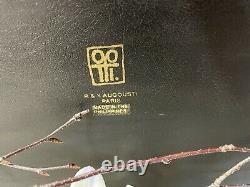 R & Y Augousti Paris Lacquered Brown Penshell & Wood Geometric Pattern Tray