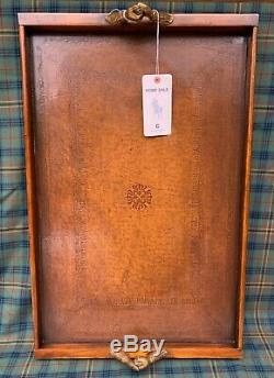 Ralph Lauren Home tooled Saddle Leather Wood Butler Tray with Brass Handles