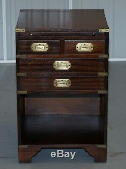 Rare Stunning Military Campaign Side Table With Butlers Serving Tray And Drawers