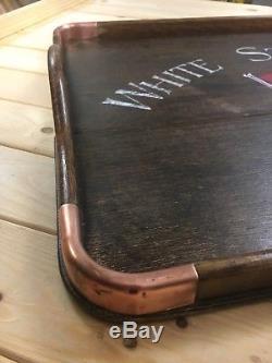 Rare White Star Line Vintage Wooden & Copper Servingdrinks Tea Tray
