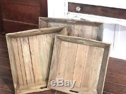 Reclaimed Wood Serving Trays (Set of 3) Square Indoor Tabletop Decor Platter