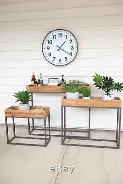 Recycled Wood Console Tray Table Set Three Rustic Metal Base Serving Plant Stand