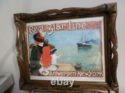 Red Star Line Ship, Antwerpen-New York Original Wood Serving Tray