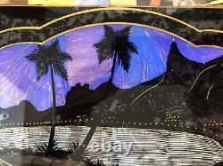 Rio (de Janeiro)Wood Glass Butterfly Wings Serving Tray Souvenir Night Scene 15