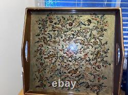 Robert M. Weiss Wood Serving Tray w Reverse Hand Painted Glass Made in Peru