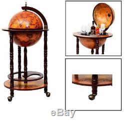 Rolling Bar Cart Vintage Tea Serving Tray Beverage Holder Wine Stand Wine Bar US