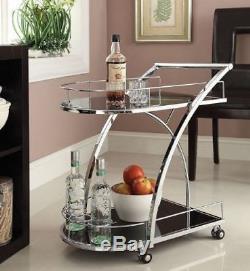 Rolling Bar Serving Cart Storage Tray Trolley Beverage Holder Wine Drink Kitchen