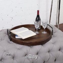 Round 24 Decorative Serving Tray Contemporary Modern Veneer Wood Iron Handles