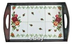 Royal Albert Old Country Roses Luncheon 6 Tile SERVING TRAY WOOD