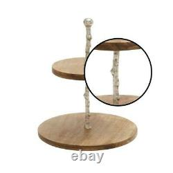 Rustic Farmhouse 2-Tiered Wood Serving Tray Round Display Server Branch Center