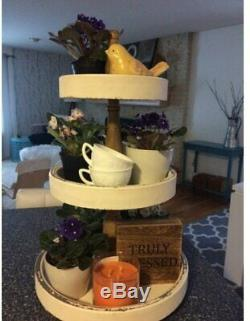Rustic Farmhouse Wooden 3-Tier Serving Tray Round Display Stand Distressed White