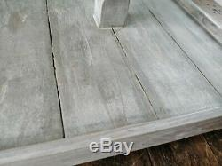 Rustic Reclaimed Pallet Wood Square Centrepiece Serving Tiered Tray Farmhouse