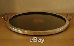 SHREVE & CO SANFRANCISCO Sterling silver / wood marquetry serving tray ca. 1930