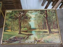 SPRING & SUMMER! Vintage ROBERT WOOD TV Tray Tables American Landscape Folding