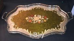 STUNNING Silver Handle FLORAL DESIGN Wood LARGE OVAL 23x15 VANITY SERVING TRAY