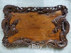 SUPERB LARGE ANTIQUE CHINESE WOOD CARVED SERVING TRAY w. DRAGONS and BIRDS