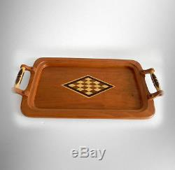 Schrock inlaid cherry wood serving tray with handles FREE SHIPPING