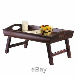 Serving Laptop Computer Table Desk Breakfast In Bed Tray Wooden Foldable Legs