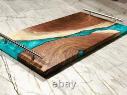 Serving Tray Epoxy Resin Wooden Snacks Dish Kitchen Dining Room Hotel Handmade