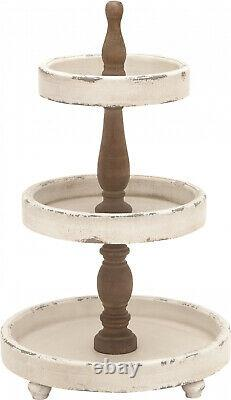 Serving Tray Party Stand Large 3 Tier Distress White Natural Wood Round