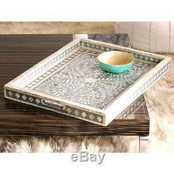 Serving Trays Basket Mother of Pearl Black Handwork Serving Wood Furniture