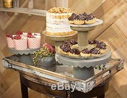 Serving Trays, Rectangle Wood & Metal, 15.25 to 21.25 in, Set of 3