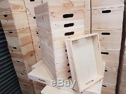 Set 10 Plain Wood Wooden Serving Trays 40cmx30cmx 6.3cm For Decoupage