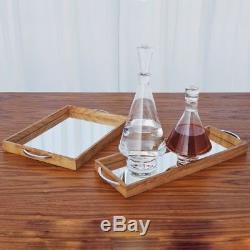 Set 2 Burled Wood Mirrored Serving Trays Burl Mid Century Modern Bar Vanity