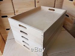 Set 5 Plain Wood Wooden Serving Large Trays 50cmx36cmx6cm Decoupage