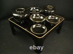 Set Of 9 Antique Japanese Meiji Wood & Lacquer Obon Ozen Serving Tray & Bowls