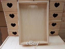 Set Ten Plain Wood Wooden Serving Large Trays 50cmx36cmx6cm Decoupage