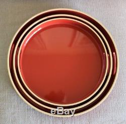 Set of 3 Contemporary Burnt Orange Round Lacquer Nesting Serving Trays