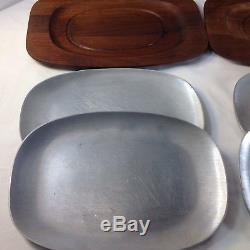 Set of 4 Mid Century Danish Modern Gladmark Walnut Wood Serving Tray & orig tag