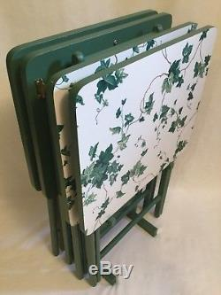 Set of 4 VTG Green Scheibe Waverly Ivy Wood Folding Rectangle TV Trays Stand