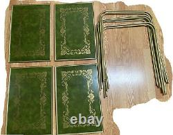 Set of 4 Vintage MCM TV TRAYS withstands Faux wood Green & Gold Filigree LAVADA