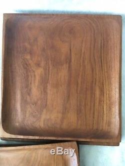 Set of 4 Vintage MCM Thailand Teak Wood Square Serving Trays About 12X12 EUC