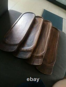 Set of 4 teak Wood Reversible Paddle Hold 3Glasses serving tray bar serving beer