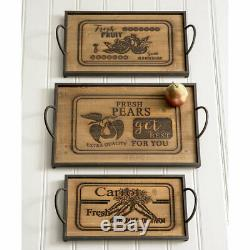 Set of Three Wood and Metal Serving Trays Rustic Farmhouse Style