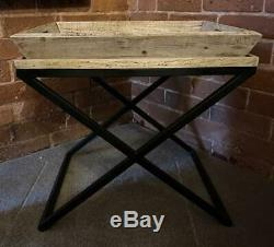 Side / End Table Black Iron Base Removable Serving Tray Mango Wood
