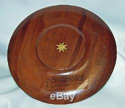 Signed BIBI LEON Handcrafted Round Wood Serving Tray Charger Plate Octopus Squid
