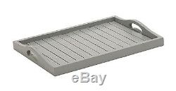 Simple Traditional Gray Wood Serving Tray Decorative Table Accent Home Decor