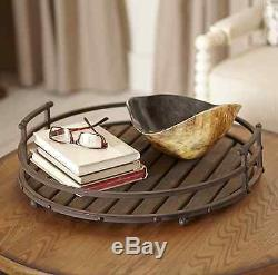 Slatted Wood Decorative Serving Tray Table Decor 21 in. Round Centerpiece, Brown