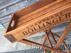 Solid wood butler tray and stand- Champagne design- B