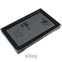 Solid wood + porcelain stone tea tray wooden tea table Zen style water draining